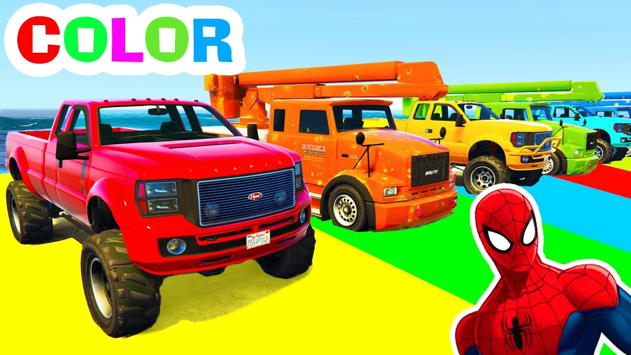 Trucks and COLOR CARS in Spiderman Cartoon Videos and ...