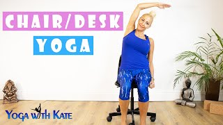 Chair Yoga | Office Yoga | Desk Yoga | Desk Exercises For Neck & Shoulder Pain | Yoga with Kate | 4K
