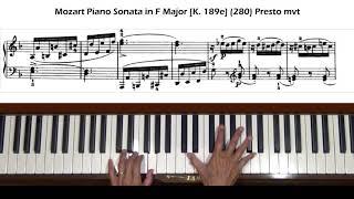 Mozart Piano Sonata in F Major [K.189e] K.280 Presto movement Tutorial