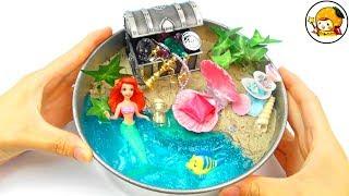 人魚姫アリエルのお家を手作り❤︎ 砂やスライムでDIY❤︎ Kinetic Sand Clay Slime Beach おもちゃ ここなっちゃん
