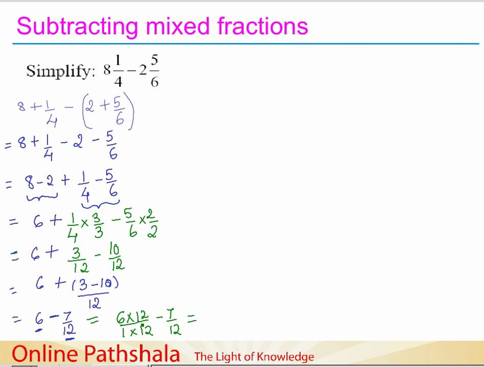 Ch716 An Interesting Example Of Subtracting Mixed Fractions Cbse