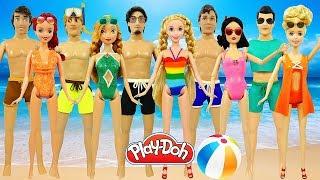 Куклы Принцессы Диснея Лепим Купальные Костюмы из Плей До Поделки из пластилина Play Doh Игрушки +1