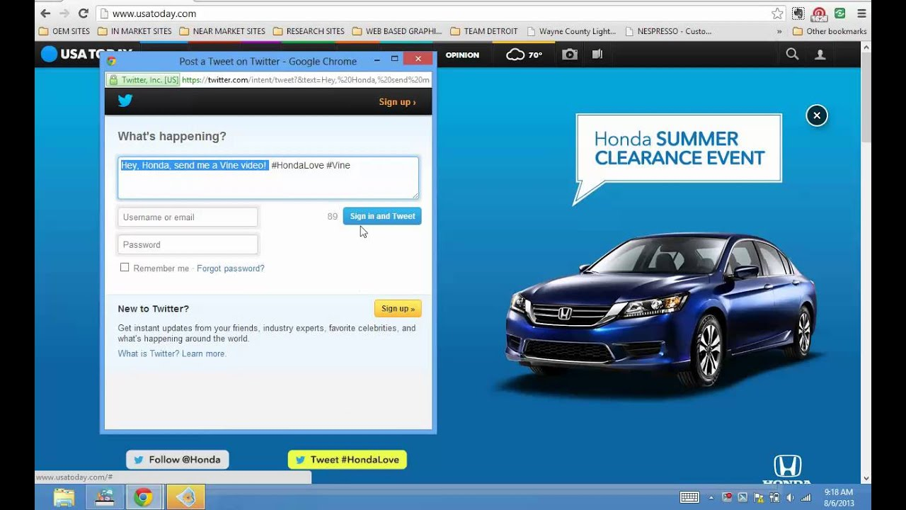 HONDA VINE TWITTER SALES EVENT ON USA TODAY HOMEPAGE TAKEOVER AUG 6 2013