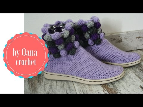 Crochet shoes/slippers on a rubber sole 1- by Oana