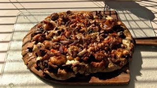 Smokingpit.com - Cajun Seafood Pizza Recipe Cooked On The Scottsdale Over A Peach Wood Fire