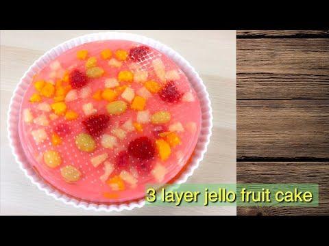3 Layer Jello Fruit Cake Jelly Fruit Cake เค กว นผลไม Thai