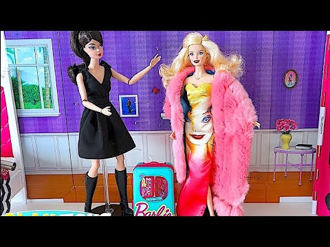 Magic Barbie Doll save Barbie girl dress up party from Barbie travel case disaster