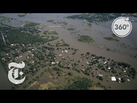 See Harvey's Path From a Helicopter in 360