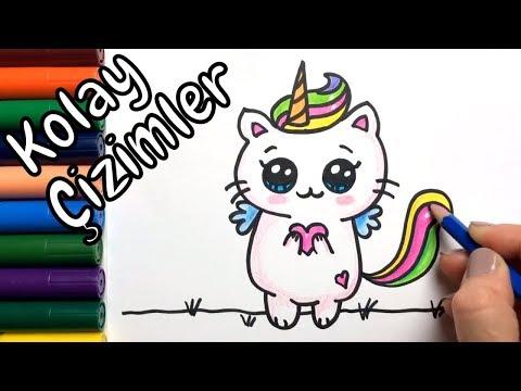 Sevimli Tek Boynuzlu Kedi çizimi Kolay çizimler Boyama