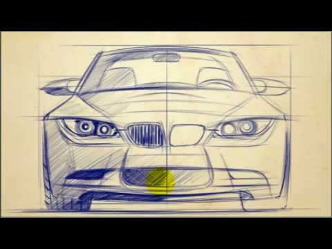 CAR DESIGN TUTORIALS: How to Draw  BMW 3 Series Front View