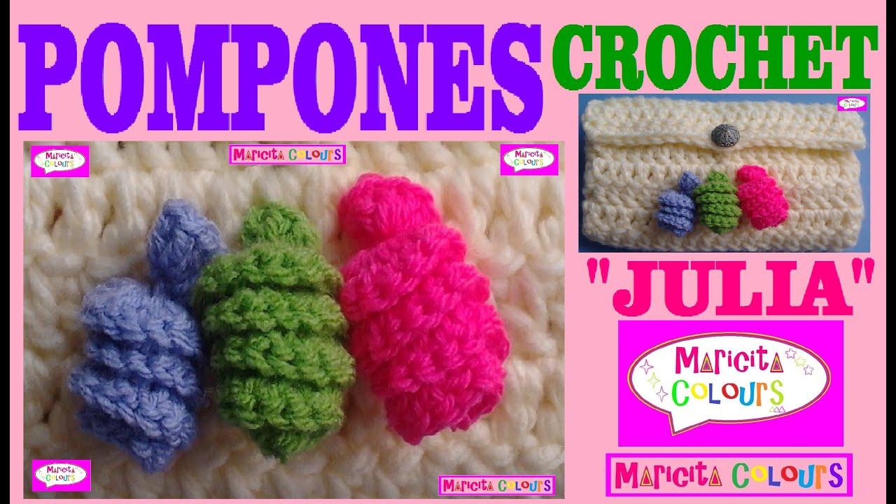 Pompones julia a crochet tutorial gratis para decorar - Decoracion con pompones ...