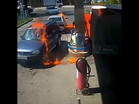 Motorist setting gas station on fire when he uses a LIGHTER to check if his gas canister is full