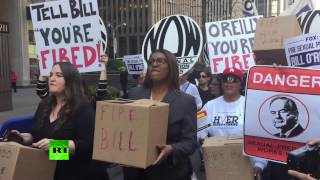'Stop validating sexual harassment'  Protesters outside Fox News demand Bill O'Reilly be fired