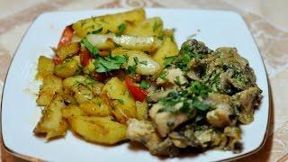 Картофель жареный с овощами + курица с шампиньонами