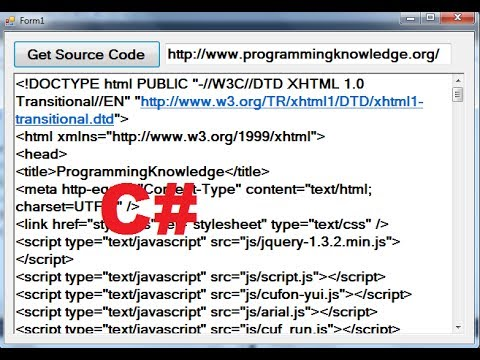 C# Tutorial 91: How to get Source Code from a Website with C#