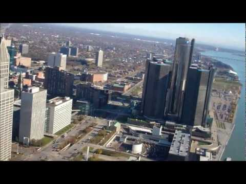 """Hello Detroit"" Flying in Romeo-Tango (helicopter) over Detroit"
