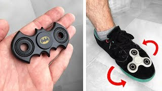 FIDGET SPINNER DO BATMAN E MANOBRA IMPOSSÍVEL COM O PÉ!! HandSpinner Tricks Freestyle Spinners Comp Video