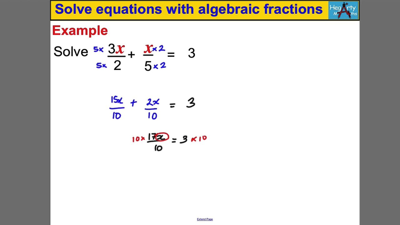 Solve Equations With Algebraic Fractions Youtube