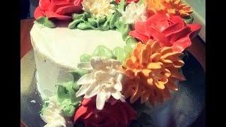 Как украсить торт кремом,цветы из крема, малайзийская техника,Floral Wreath Cake Tutorial