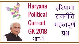 Haryana Political Current GK 2018 in Hindi for HSSC HPSC - Haryana ki Rajniti - Part 1