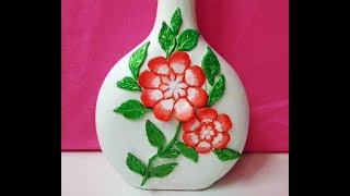 DIY-Bottle decoration with Clay Flower