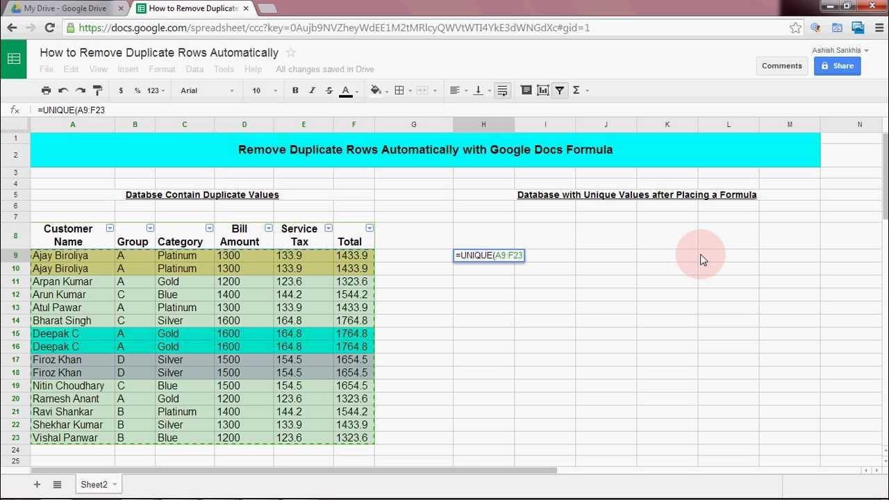 remove duplicate value rows automatically in google docs excel sheet