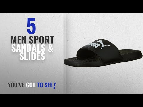 Puma Sport Sandals & Slides [ Winter 2018 ]: PUMA Men's Popcat Slide Sandal, Black/Black/White, 10 M