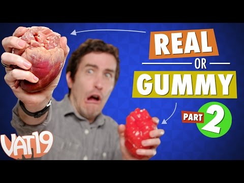 Gummy Food vs. Real Food Challenge #2! Eating Heart, Tongue, Rat, Rabbit, and Octopus.