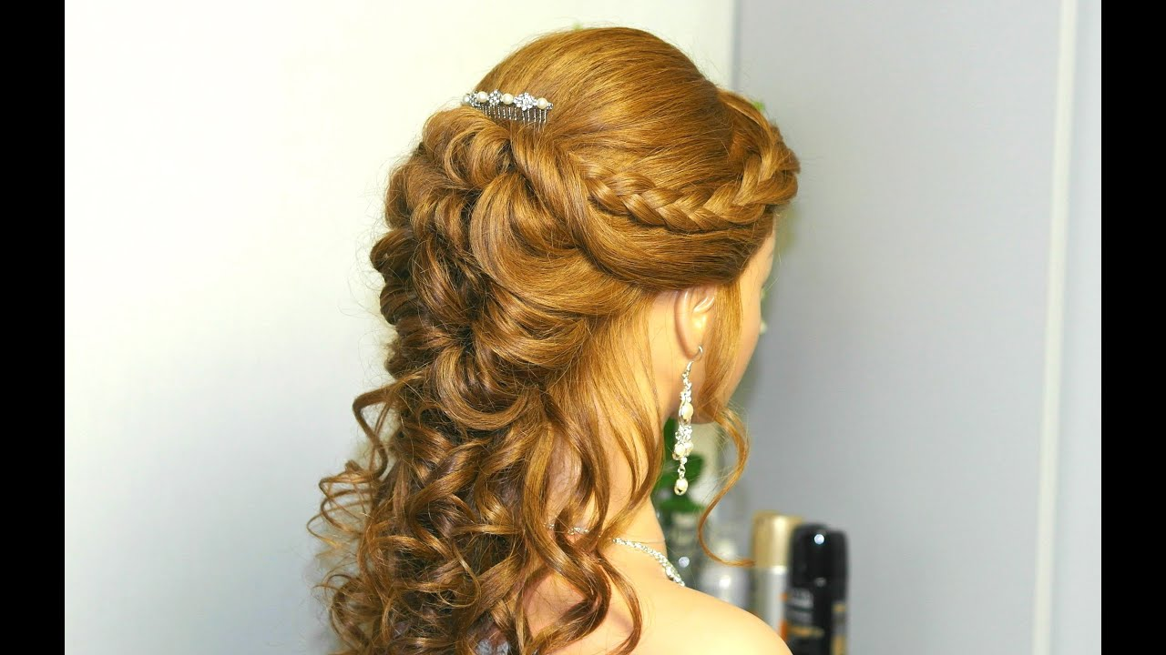 curly prom hairstyle for long hair with french braids. tutorial