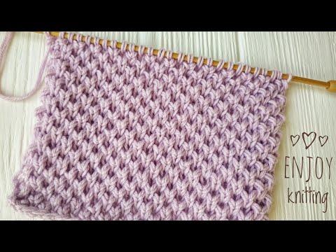 ПРОСТОЙ Узор Мелкие соты (Жемчужный бриошь) / Pearl Brioche Knit Stitch / #59