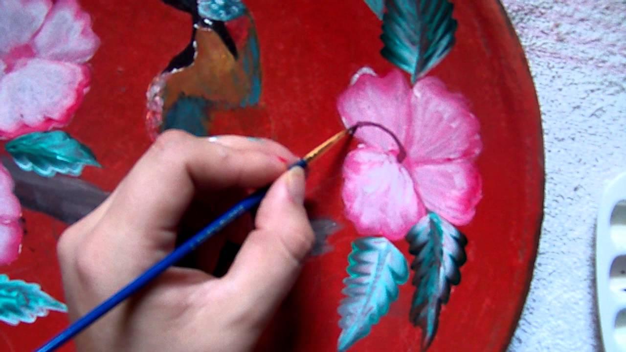 Pintando comal de barro con ACRILICO/FLORES/ - YouTube