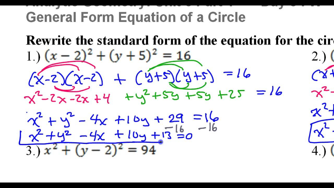 Day 3 HW #1 to #4 Rewrite the Standard Form of the Circle Equation ...