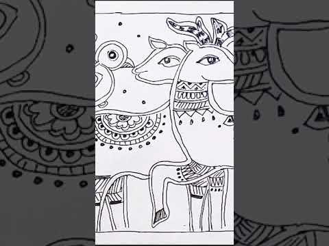 #shorts Madhubani Mithila Painting Tutorial /Indian Folk Painting /Painting Tutorial #youtubeshorts