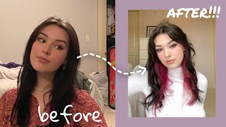bleaching my hair for the first time EVER!!!!!! (black to pink hair transformation)