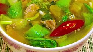Thai Spicy Pork, Pumpkin, Sponge Gourd and Vegetable Soup แกงอ่อมหมูฟักทองบวบหอมผักรวม
