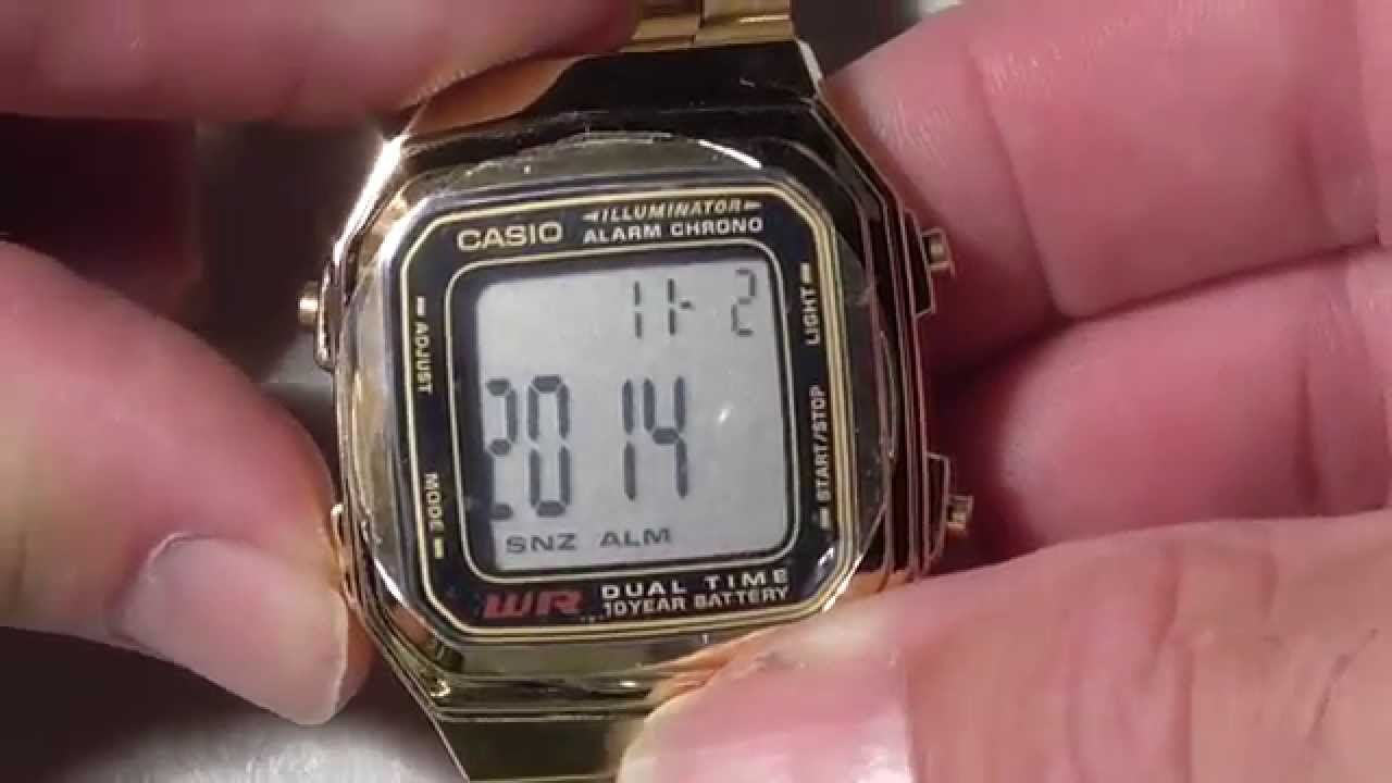 770299d1a73 How to adjust Casio Watch Strap Amazon Casio Watch - A178WGA1A set time  date - YouTube