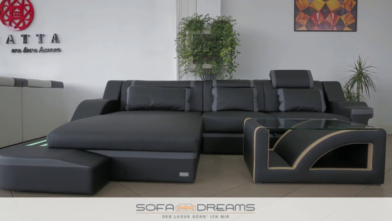 sofa dreams ledersofa palermo als ecksofa mit couchtisch und beleuchtung youtube. Black Bedroom Furniture Sets. Home Design Ideas