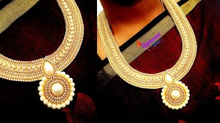 How To Make Designer Pearl Necklace At Home | DIY | jewelry Making | Bridal Necklace | uppunutihome