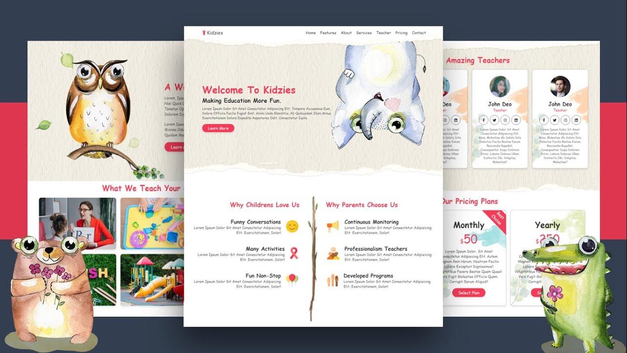 Create A Responsive ' Kindergarten ' Website Design Using HTML - CSS - JS | Step By Step