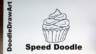 How To Draw Cartoon Cupcake -Step by Step tutorial - Draw it in 1 minute - Speed Doodle