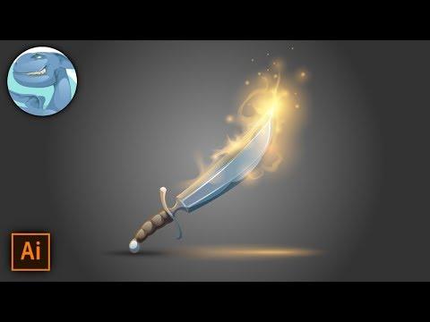 Old magic sword. Vector drawing with Adobe Illustrator. thumbnail