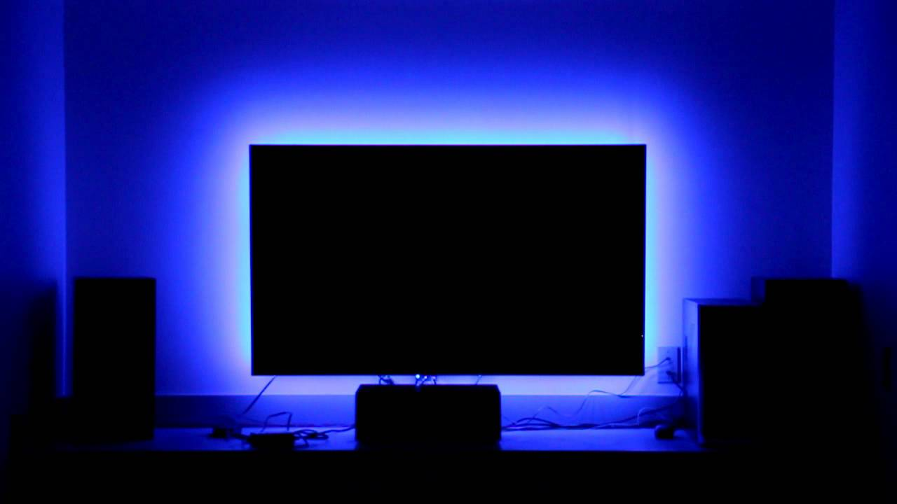 RGB LED Strip With Controller Demonstrating Different
