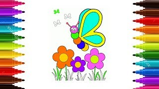 How to Draw Butterfly, Flower for Tolders | Coloring Bufterfly for Kids |Art Colours for Children