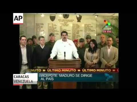 Venezuela Vice President Announces Death of Hugo Chavez