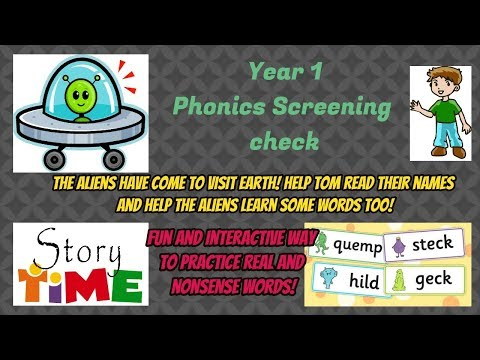 The Aliens Learn Phonics Year 1 Phonics screening Check Real words Nonsense Alien Words