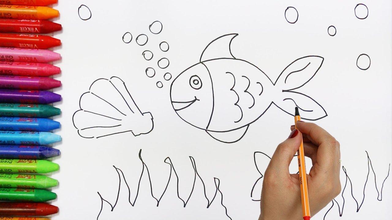 Pesci e stella di mare come disegnare e colora per i for Pesciolini da colorare per bambini