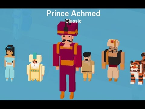 DISNEY CROSSY ROAD ALADDIN | Unlocked Characters Gameplay | Golden Scarab / Jafar / Genie