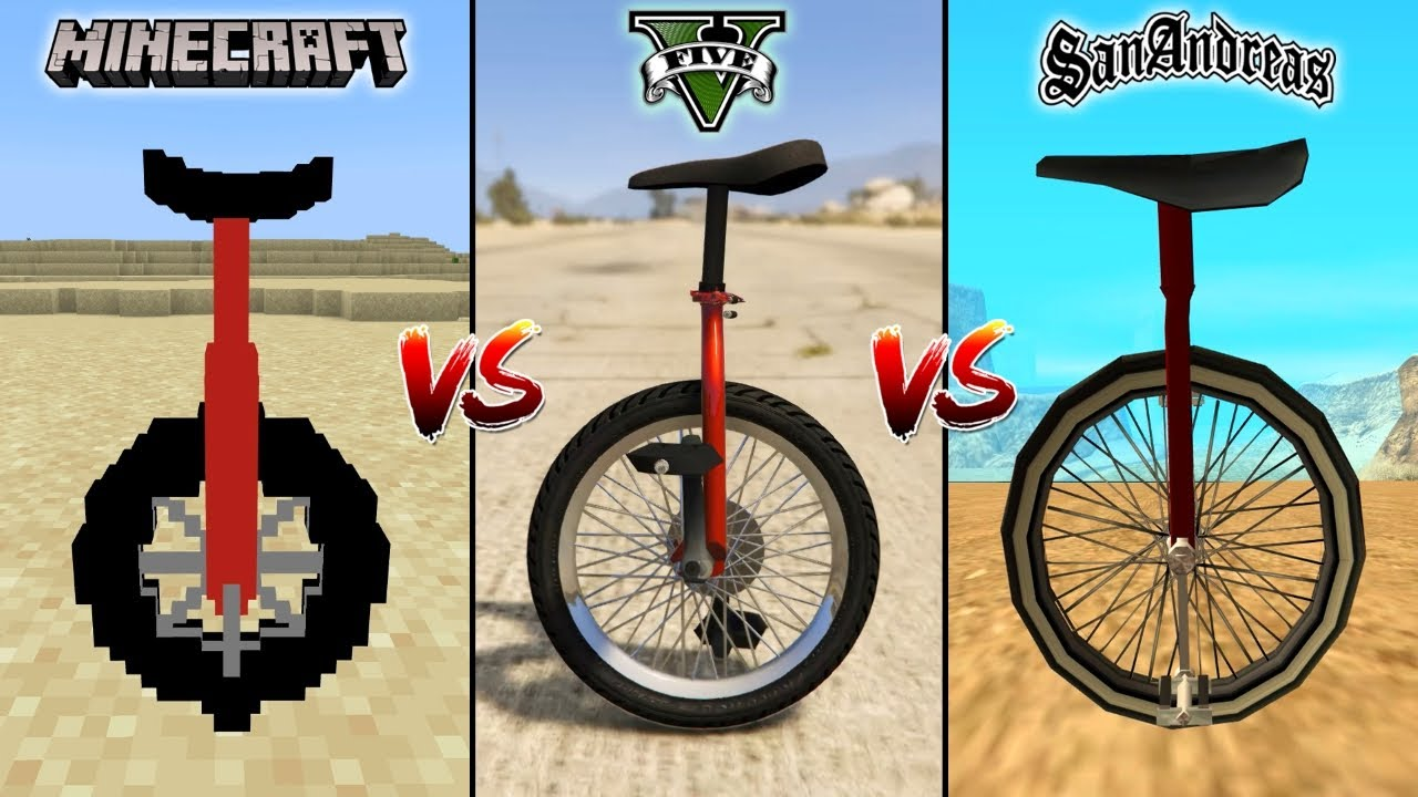 MINECRAFT UNICYCLE VS GTA 5 UNICYCLE VS GTA SAN ANDREAS UNICYCLE - WHICH IS BEST?