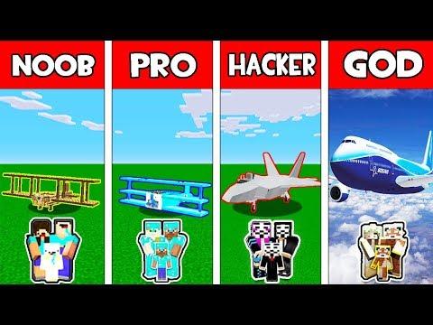 Minecraft - NOOB vs PRO vs HACKER vs GOD : FAMILY AIRPLANE CHALLENGE in Minecraft Animation