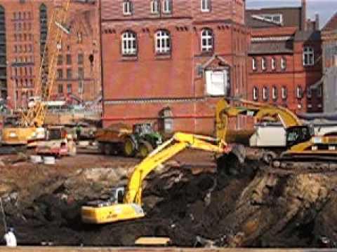 Baggerarbeiten in der Baugrube Überseequartier Los 1 I
